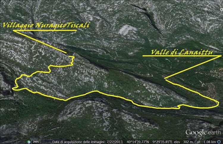 Dolina-Tiscali-Tracciato-Escursione